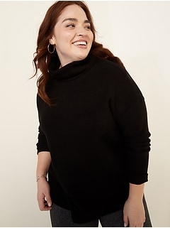 Oversized Cozy Thermal-Knit Cowl-Neck Plus-Size Long-Sleeve Top