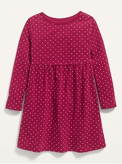 Robe t-shirt droite à manches longues à imprimé pour toute-petite fille