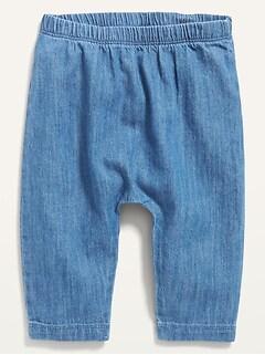 Unisex Chambray U-Shaped Pants for Baby