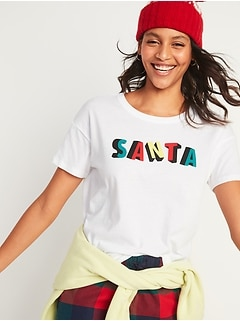 Loose-Fit Christmas Graphic Easy Tee for Women