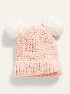 Bonnet à pompon en chenille pour bébé