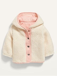 Unisex Reversible Sherpa-Lined Hooded Jacket for Baby