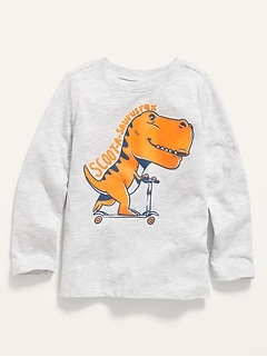 Unisex Long-Sleeve Dino-Graphic Tee for Toddler