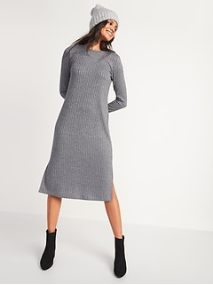 Rib-Knit Long-Sleeve Midi Shift Dress for Women