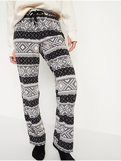 Mid-Rise Patterned Micro Performance Fleece Pajama Pants for Women