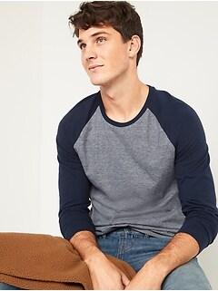 T-shirt à couleurs contrastantes ultra-doux à manches longues pour Homme