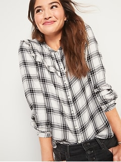 Plaid Ruffle-Yoke Flannel Shirt for Women