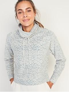 Go-Warm Cropped Micro Performance Fleece Funnel-Neck Sweatshirt for Women