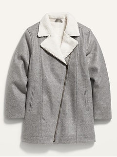 Soft-Brushed Sherpa-Lined Long Moto Jacket for Girls