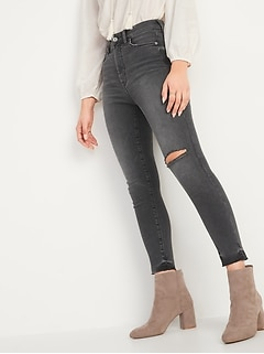 Extra High-Waisted Rockstar 360° Stretch Super Skinny Ripped Gray Cut-Off Ankle Jeans for Women