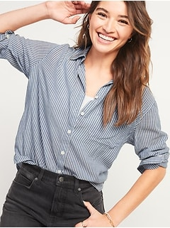 Oversized Boyfriend Striped Tunic Shirt for Women