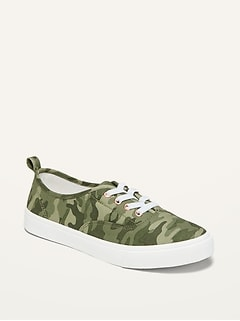 Gender-Neutral Camo-Print Lace-Up Twill Sneakers for Kids
