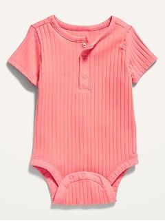 Unisex Short-Sleeve Rib-Knit Henley Bodysuit for Baby