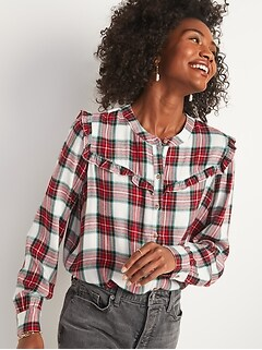 Plaid Ruffle-Yoke Flannel Shirt for Women