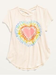 T-shirt à ourlet tulipe à manches courtes pour toute-petite fille