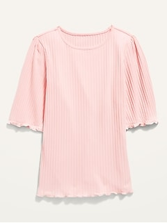 Rib-Knit Lettuce-Edge Elbow-Sleeve Top for Girls