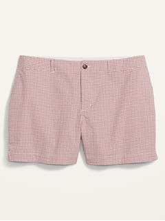 Short quotidien en tissu gaufré à guingan à taille haute, taille forte (entrejambe de 13cm)