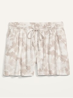 High-Waisted Printed Linen-Blend Plus-Size Shorts -- 5-inch inseam