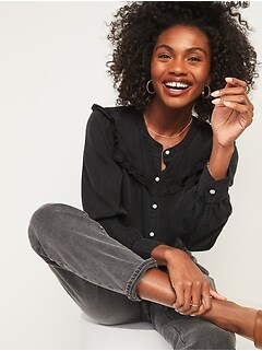 Black Chambray Ruffle-Yoke Shirt for Women