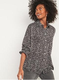 Oversized Boyfriend Leopard-Print Shirt for Women