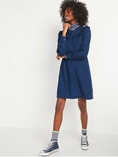 Ruffle-Yoke Indigo Chambray Shirt Dress for Women