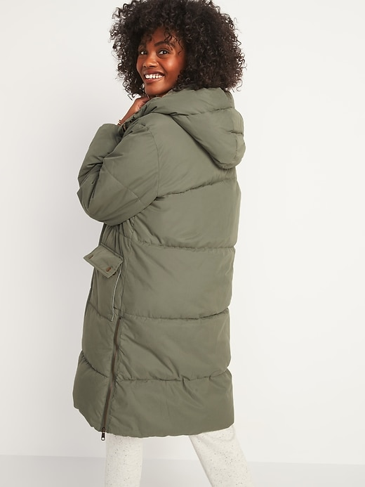 Faux-Fur Lined Hooded Long Puffer Coat for Women