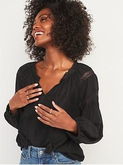 Lace-Trim Tie-Neck Poet Blouse For Women