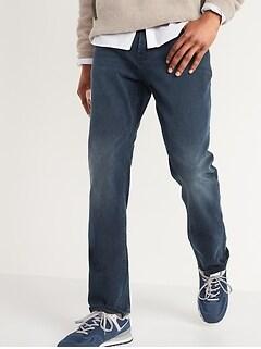 Straight Built-In Flex Dark-Wash Jeans for Men