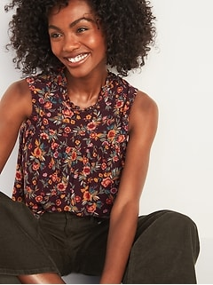 Ruffled High-Neck Floral-Print Sleeveless Top for Women