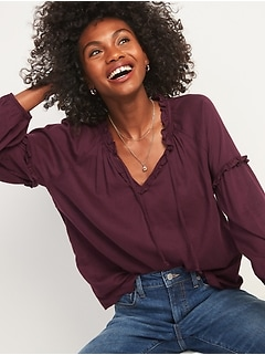 Ruffled Tie-Neck Poet Blouse for Women