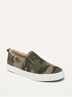 Gender-Neutral Camo-Print Canvas Slip-Ons for Kids