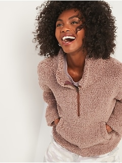 Relaxed Cozy Sherpa Half-Zip Sweatshirt for Women