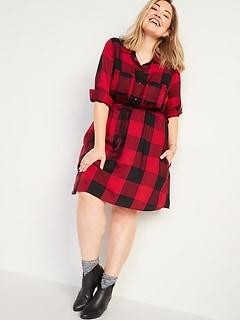 Waist-Defined Plaid Flannel No-Peek Plus-Size Shirt Dress