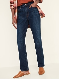 High-Waisted Slouchy Straight Dark-Wash Jeans for Women