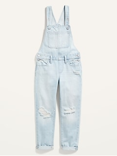 Ripped Light-Wash Jean Overalls for Girls
