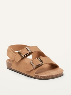 Faux-Leather Double-Buckle Sandals for Baby