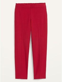 Pantalon droit à taille moyenne  à enfiler, longueur à la cheville pour femme