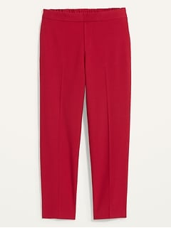 Mid-Rise Straight Pull-On Ankle Pants for Women