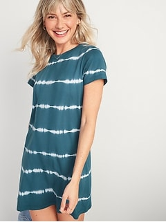 Fitted Tie-Dye T-Shirt Dress for Women