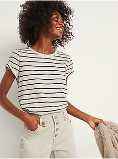 EveryWear Striped Slub-Knit Crew-Neck Tee for Women