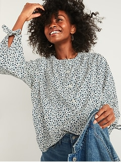 Oversized Floral-Print Corduroy Tie-Sleeve Blouse for Women