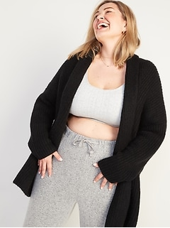 Slouchy Open-Front Plus-Size Sweater