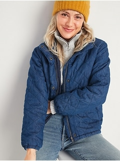 Lightweight Diamond Quilted Chambray Puffer Jacket
