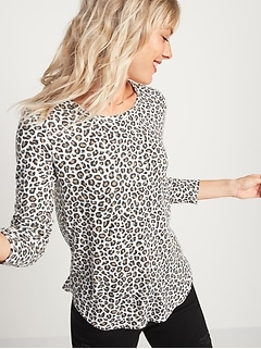 Patterned Plush-Knit Long-Sleeve Tee for Women