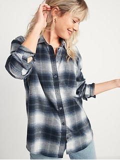 Oversized Plaid Flannel Boyfriend Tunic Shirt for Women