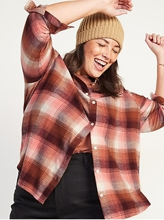 Oversized Plaid Flannel Boyfriend Plus-Size No-Peek Tunic Shirt