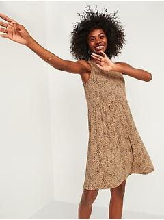 Cheetah-Print Jersey Sleeveless Drop-Waist Swing Dress for Women