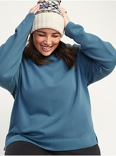 Oversized Garment-Dyed Mock-Neck Plus-Size Sweatshirt