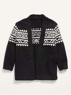 Fair Isle Open-Front Cardigan Sweater for Toddler Girls