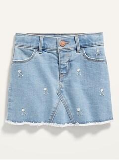 Light-Wash Frayed-Hem Jean Skirt for Toddler Girls